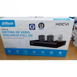 KIT DAHUA 4 CANALES 2 CAMARAS  FULL HD  DISCO DURO